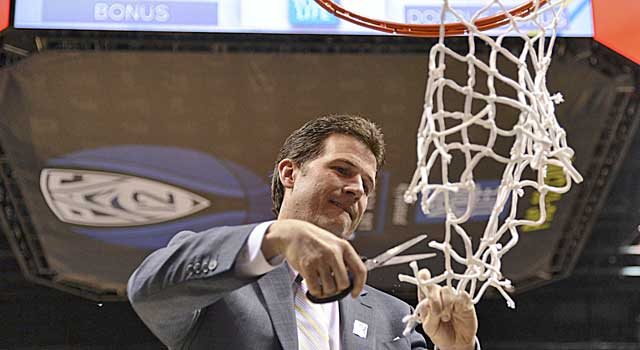 That's Steve Alford cutting down the net after winning the Pac-12 Tournament. (USATSI)