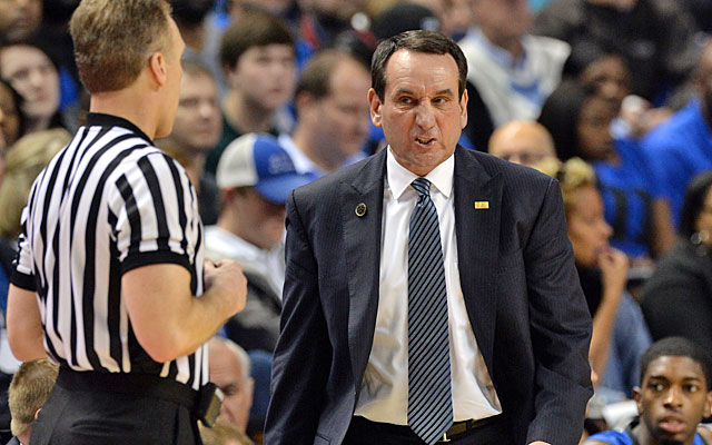 Mike Krzyzewski is trying to debunk the notion that referees favor his Duke Blue Devils. (USATSI)