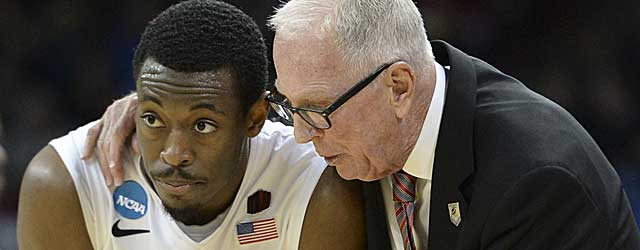 Xavier Thames and Steve Fisher are looking for a way past Arizona at Anaheim. (USATSI)