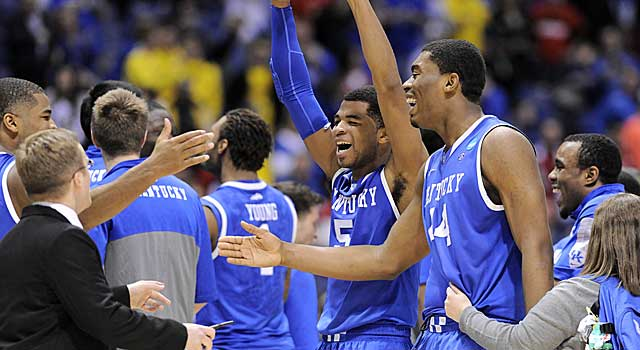 Kentucky celebrates like champs after taking out the defending NCAA title-holder. (USATSI)