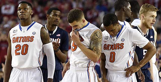 From left: Kasey Hill, Scottie Wilbekin and Michael Frazier II run out of answers. (USATSI)
