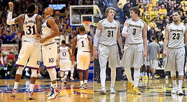 Kansas may not have any choice in playing Wichita State in the Round of 32. (Getty Images)
