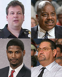 Clockwise: Mike Miller, Wayne Morgan, Jeff Ruland, Anthony Davis.