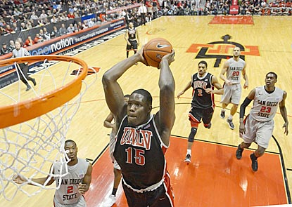 San Diego State defenders can only watch as UNLV's Anthony Bennett goes up for a dunk during the fi (US Presswire)