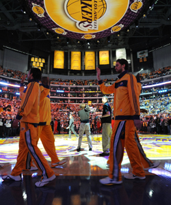 The Lakers walk into the season as the reigning champs, receiving their rings Tuesday. (Getty Images)