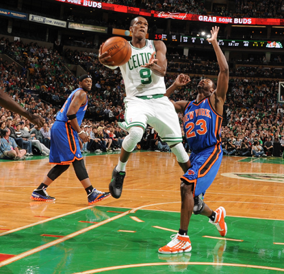 The Celtics' Rajon Rondo puts up a career-high 24 assists to help his team walk away with a tough win over the Knicks.  (Getty Images)
