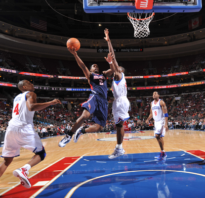 The Hawks' Joe Johnson scores 22 as Atlanta is able to hold off the 76ers to win a tight game.  (Getty Images)