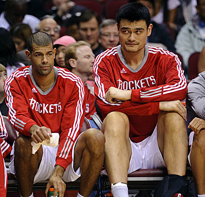 Logging 16 minutes Sunday, Yao Ming (13 points, four rebounds) remains under strict time limits.  (AP)