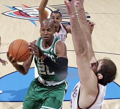 Ray Allen scores 19 points against the Thunder as the Celtics start a four-game road trip with a victory.  (Getty Images)