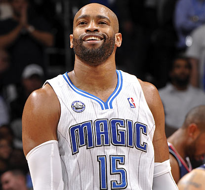 Vince Carter has plenty to smile about, scoring 19 points with two big buckets to help the Magic beat the Hawks once again.  (Getty Images)
