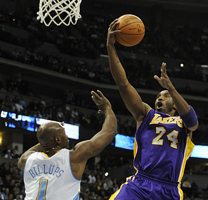 Kobe Bryant scores a season-best 36 points and becomes the youngest player to reach the 26,000-points plateau. (AP)