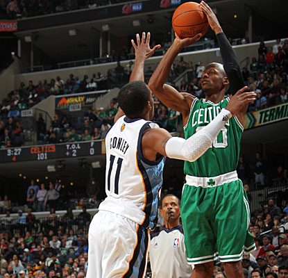 Ray Allen scores 13 of his 15 points in the fourth and OT, including a key 3-pointer in the extra period. (Getty Images)