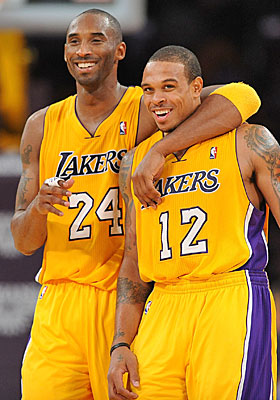 Kobe Bryant says of Shannon Brown and his L.A. teammates, 'We're a pretty even-keeled group.' (Getty Images)