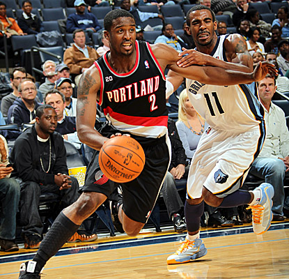 Wes Matthews gets past Memphis guard Mike Conley on the drive. (Getty Images)