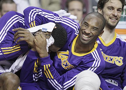 It's another laugher for Ron Artest, Kobe Bryant, Pau Gasol and the Lakers, who lead by as many as 27 points.  (AP)