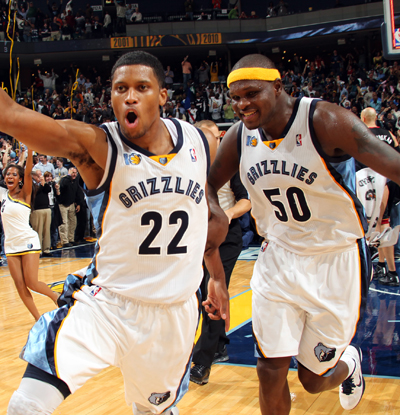 Rudy Gay (left) celebrates with Zach Randolph after hitting the game-winning fadeaway over LeBron James.  (Getty Images)