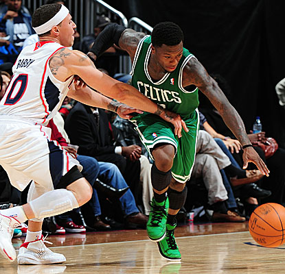 Nate Robinson steps in for Rajon Rondo vs. the Hawks and comes up with 16 points and 10 assists. (Getty Images)