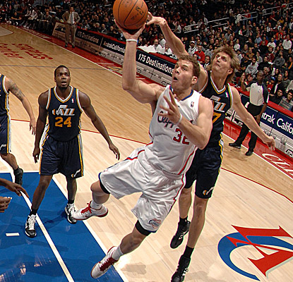 Blake Griffin lifts off Sunday vs. the Jazz, notching another double-double in the Clippers loss. (Getty Images)