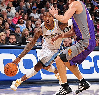Taking on the Suns without Carmelo Anthony on Sunday, Denver triumphs with help from J.R. Smith. (Getty Images)