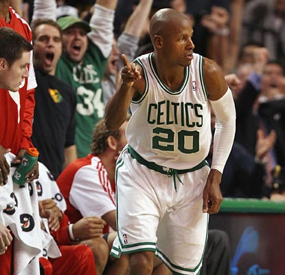 Ray Allen struggles all night but hits the clutch 3 when it counts to end a 15-0 Blazers run.  (Getty Images)