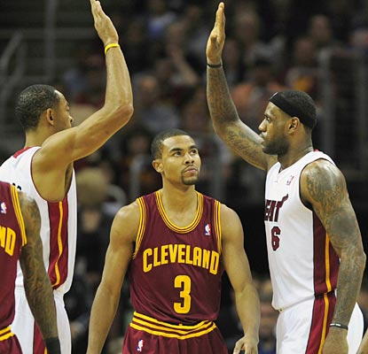 LeBron's dominant 38-point game leaves his ex-Cavaliers, and Cleveland fans, awfully dejected.  (US Presswire)