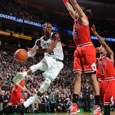 Rajon Rondo finishes the game against the Bulls with 12 points and 19 assists. (Getty Images)