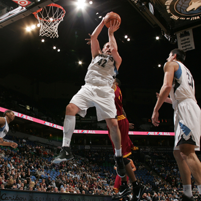 Kevin Love -- 28 points -- goes up to grab one of his 19 rebounds against Cleveland.  (Getty Images)