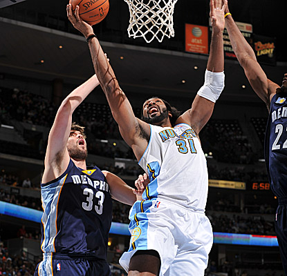 Nene steps up for the Nuggets on Sunday, scoring a game-high 27 points. (Getty Images)