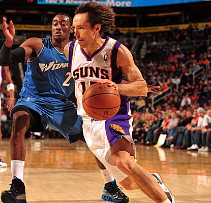 Steve Nash does 30-somethings proud Sunday, tallying 20 points and 17 assists in the win. (Getty Images)
