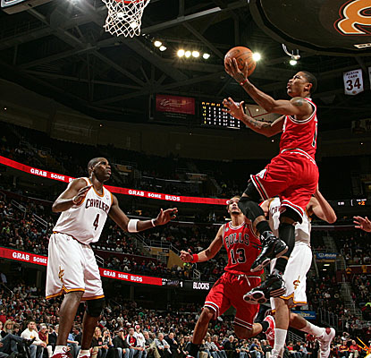 Derrick Rose takes to the sky at the Q, reaching a game-high 29 points in Chicago's win. (Getty Images)