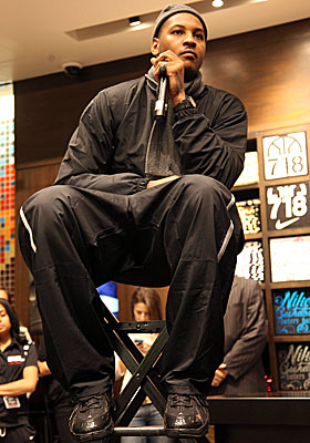 Melo shines in the Big Apple, launching his Jordan Brand Melo M7 shoes at the House of Hoops in Harlem on Saturday. (Getty Images)