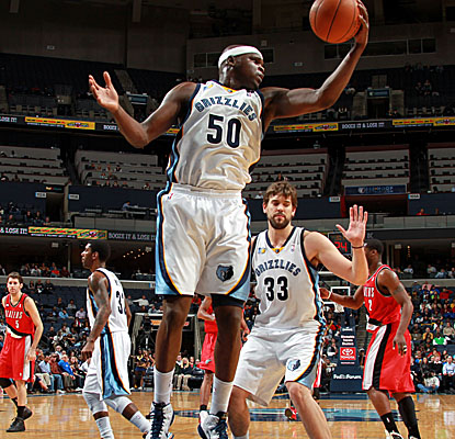 Already looking to transition, Zach Randolph pulls in one of his 20 boards vs. the Blazers. (Getty Images)