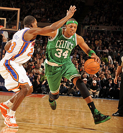 Toney Douglas of the Knicks defends Boston's Paul Pierce in MSG. Pierce finishes with a team-high 32 points. (Getty Images)