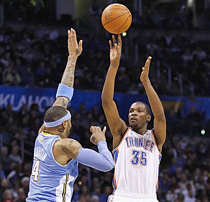 Oklahoma City's Durant scores 21 in the third quarter and a season-high 44 in a 114-106 win. (AP)