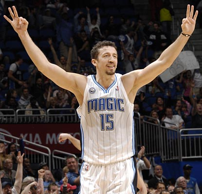 Hedo Turkoglu does it in all three of the offensive categories, putting up 10 points, 14 rebounds and 10 assists.  (Getty Images)