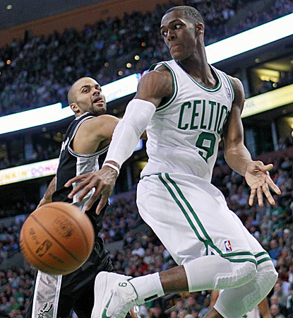 Rajon Rondo, who finishes with a triple-double, helps hand the Spurs their first back-to-back losses. (AP)