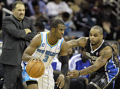Magic coach Stan Van Gundy doesn't seem comfortable with the sight of Jameer Nelson trying to guard Chris Paul in a close game. (AP)