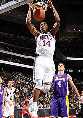 Rookie Derrick Favors is averaging 6.9 points and five rebounds per game for the Nets this season. (Getty Images)