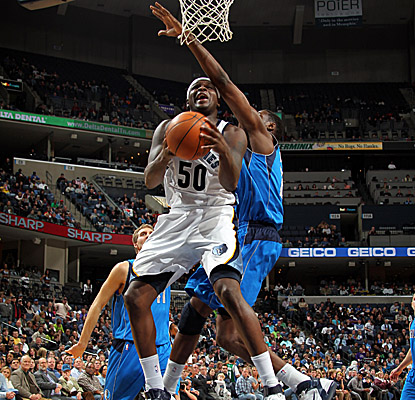 Zach Randolph wheels in on the reverse layup in the Grizzlies' home win vs. Dallas. (Getty Images)