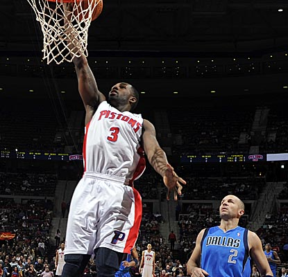Rodney Stuckey scores on a Pistons fastbreak, finishing with 20 points as Detroit gets the win. (Getty Images)