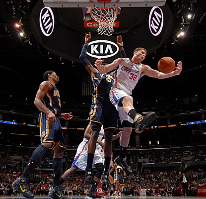 Blake Griffin comes down with one of his 14 rebounds against the Pacers. He also hits for 47 points. (Getty Images)