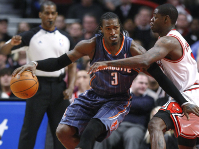 The Bobcats' Gerald Wallace posts 13 points, 16 boards and four assists against the Bulls.  (AP)