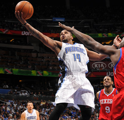 Jameer Nelson goes up for a shot as he helps the Magic beat the 76ers with 16 points and seven assists. (Getty Images)