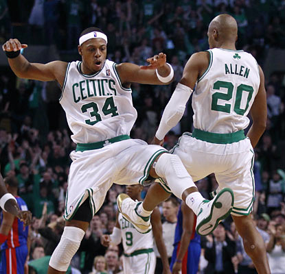 Paul Pierce celebrates with Ray Allen, who hits the go-ahead basket for the Celtics with 25 seconds left.  (AP)