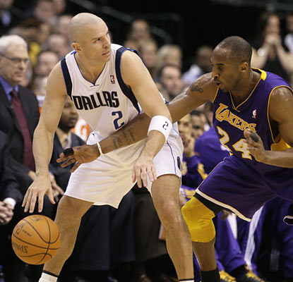 Jason Kidd hurts Kobe and the Lakers with a season-best 21 points. The Mavs guard also provides 10 assists in the win.  (AP)