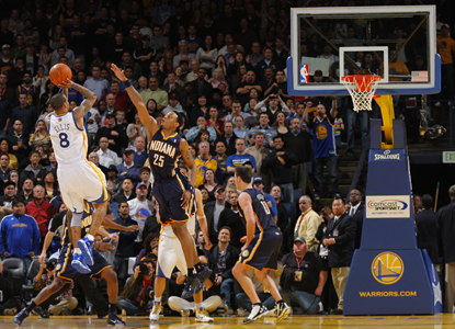 Monta Ellis hits the game-winning jumper with less than a second remaining to lead the Warriors over the Pacers. (Getty Images)