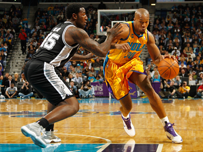 David West's 18 points and 10 boards lead the Hornets to a shocking upset victory over the Spurs.  (Getty Images)