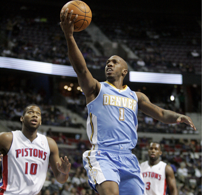 Chauncey Billups goes to the basket as he leads the Nuggets with 26 points over his former team, the Pistons. (AP)