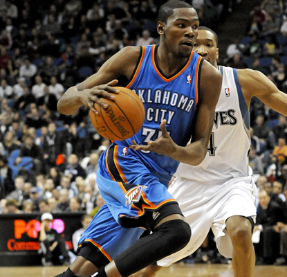 Kevin Durant is unable to be contained as he goes off for career highs of 47 points and 18 rebounds. (AP)