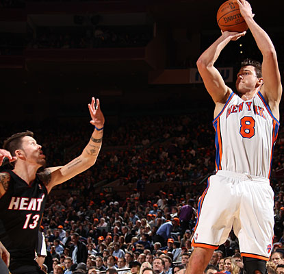 Danilo Gallinari hits one of his three 3-pointers in the game, finishing with 20 points against Miami. (Getty Images)